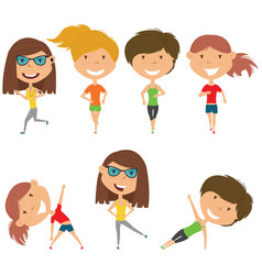 Running and work out girls vector