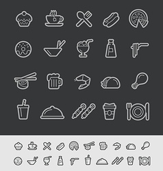 Food and drink icons black background vector