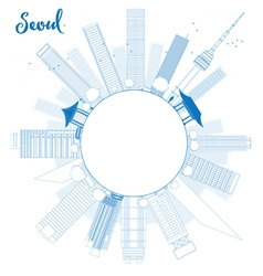 Outline seoul skyline with blue building vector