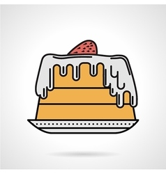 Strawberry pie flat color icon vector