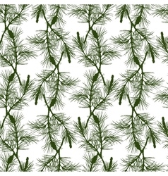Hand drawn pine branch seamless pattern vector