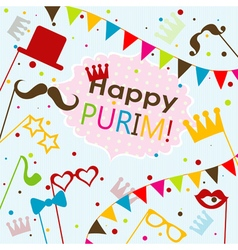 Template jewish holiday purim greeting card vector