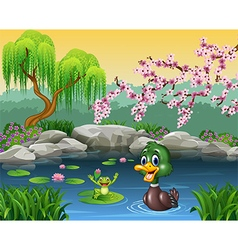 Cute duck swimming with frog vector image