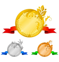 Medals set 4 floral decorations vector