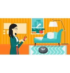 Woman with robot vacuum cleaner vector image