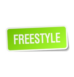 Freestyle green square sticker on white background vector