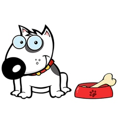 Smiling White Bull Terrier Dog With Bowl And Bone vector image