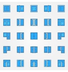 Window blue icons set vector