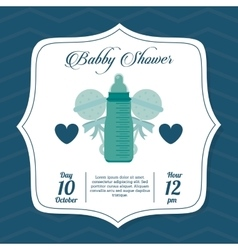 Baby shower design baby bottle icon blue vector
