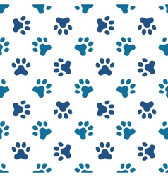 Blue pet or animal footprint seamless pattern vector image