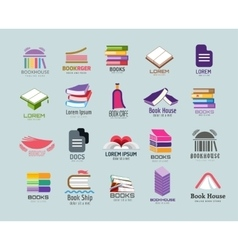 Book logo template set vector