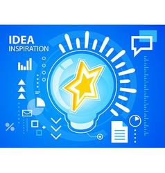 Bright idea inspiration of star on blue back vector
