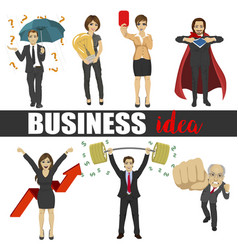 Business people idea set characters vector