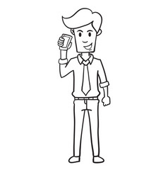 Businessman with phone character hand draw vector