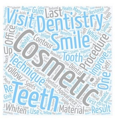 Cosmetic dentistry procedures text background vector