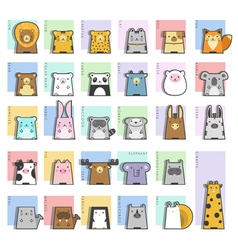 Cute Animals Icon Set vector image