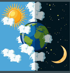 day and night on the planet earth concept vector image vector image