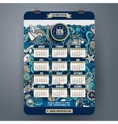 Doodles marine calendar 2016 year design vector