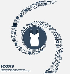 Dress icon in the center around the many beautiful vector