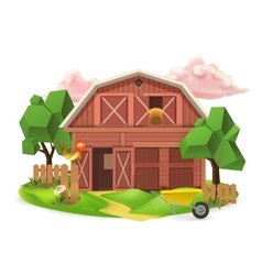 Farm low poly icon vector image vector image