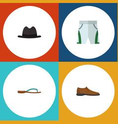 Flat icon dress set of beach sandal panama male vector