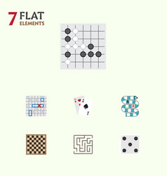Flat icon play set of ace backgammon chess table vector