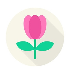 Flat Nature Tulip Flower Circle Icon with Long vector image
