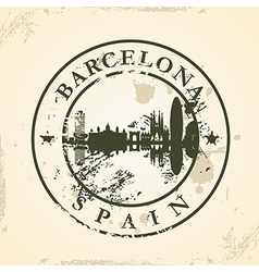 Grunge rubber stamp with barcelona spain vector