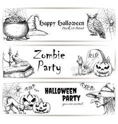 Halloween pencil sketch decoration elements vector image