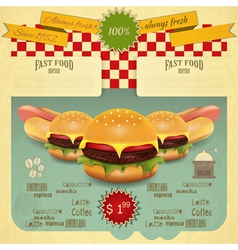 Hamburger and Hot Dogs vector image vector image