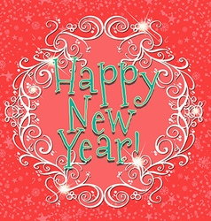 Happy new year card with red background vector image