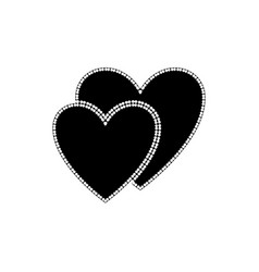 heart black two of white polka sign vector image