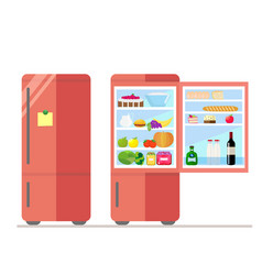Indoor and outdoor refrigerator with food sticker vector
