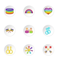 LGBT icons set cartoon style vector image vector image
