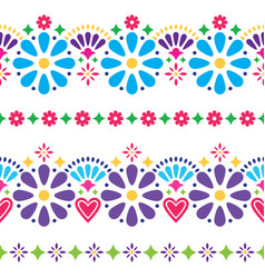Mexican folk seamless background - colorful vector