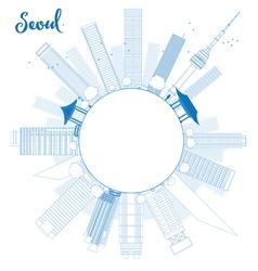 Outline seoul skyline with blue building vector