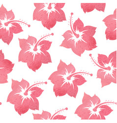 Pattern with tropical watercolor flowers vector