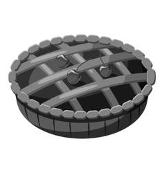 Pie with lattice top icon gray monochrome style vector