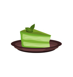 Piece of cake with matcha green tea element of vector