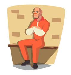 prisoner man criminal man arrested and vector image