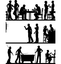 Pub game silhouettes vector