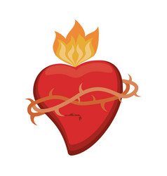 Sacred heart crown flame vector