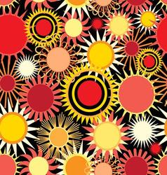 Seamless bright pattern with abstract sun vector