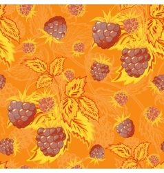 Seamless orange brown pattern with raspberries vector image