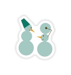Stylish paper sticker on white background snowmen vector