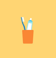 Toothbrush and toothpaste in glass vector