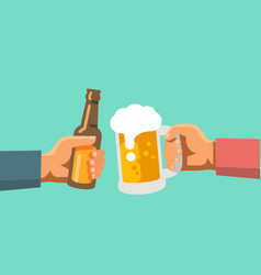 two hands holding beer glass and beer botle vector image vector image