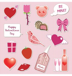 valentine stickers vector image vector image