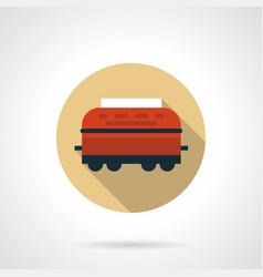 wagon-refrigerator beige round icon vector image