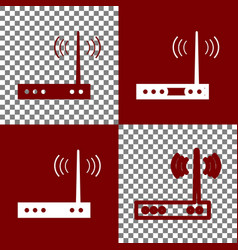 Wifi modem sign bordo and white icons and vector